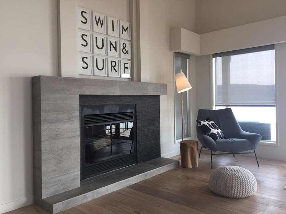 Wood burning fireplace in main living room.