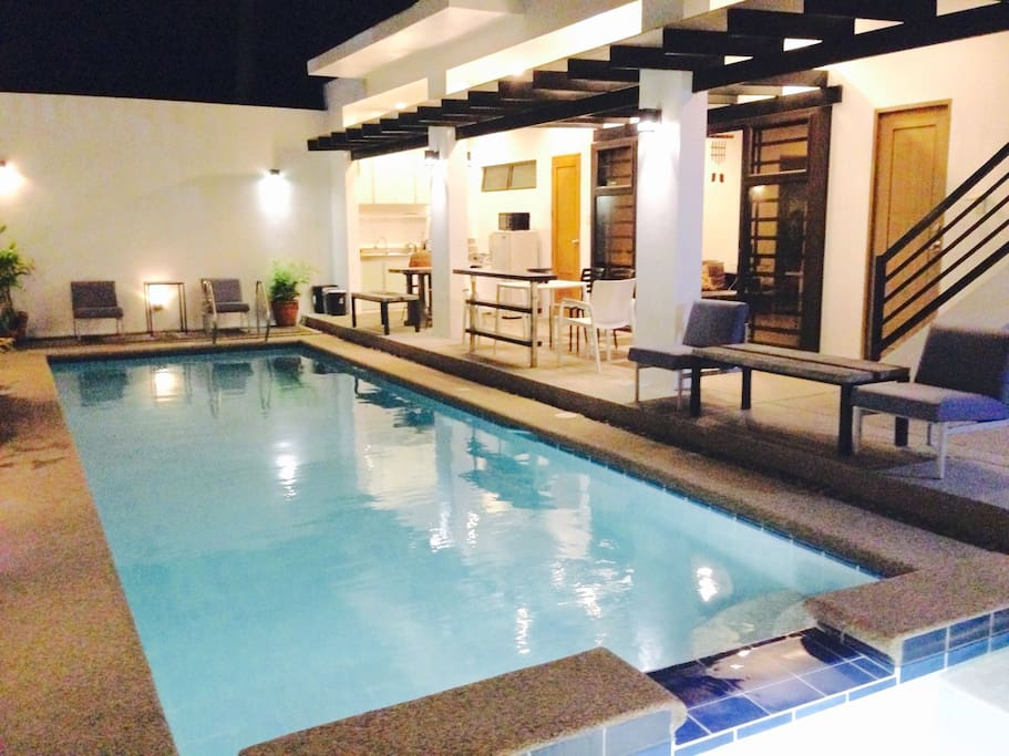 Lighted swimming pool and whirlpool