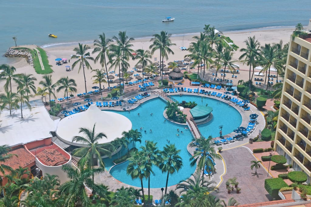 This is the view from my balcony overlooking the pool and the beach!!