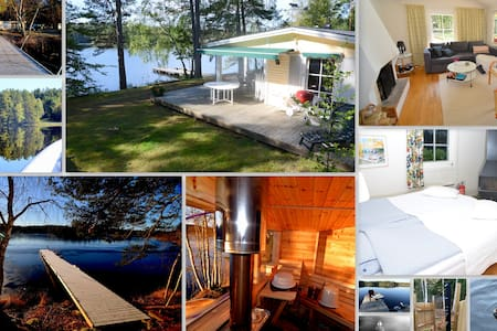 Luxury 5m from lake, sauna + boat. - House