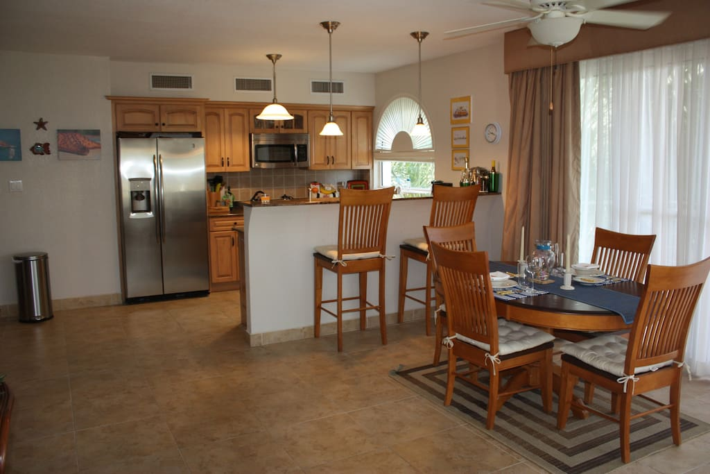 Dining area and kitchen.