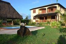 house, garden & pool