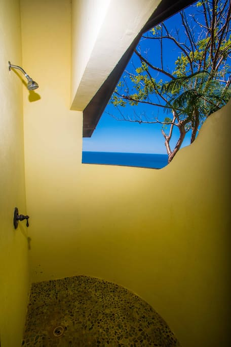 Outdoor shower with ocean views!