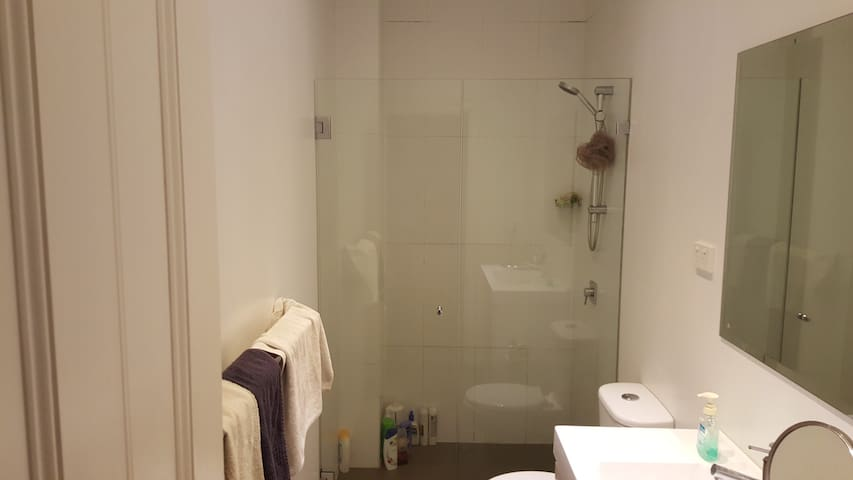 Bathroom right next to the bedroom
