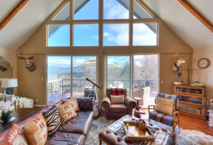 Classic A-frame vaulted ceilings in the cozy living room
