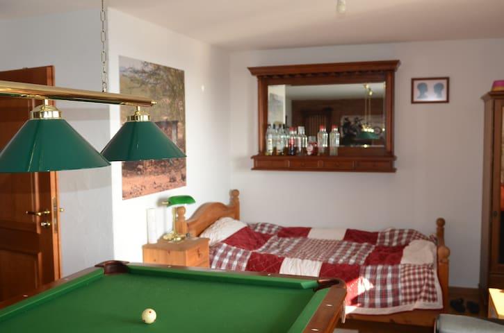 Schönes Zimmer mit Aussicht und Billardtisch