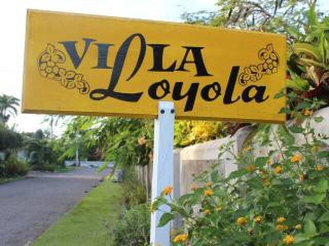 Sign outside Entrance to Villa Loyola
