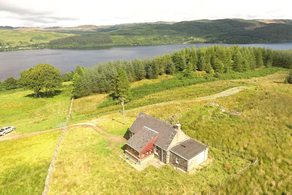 Ariel shot of Cottage and Loch Awe