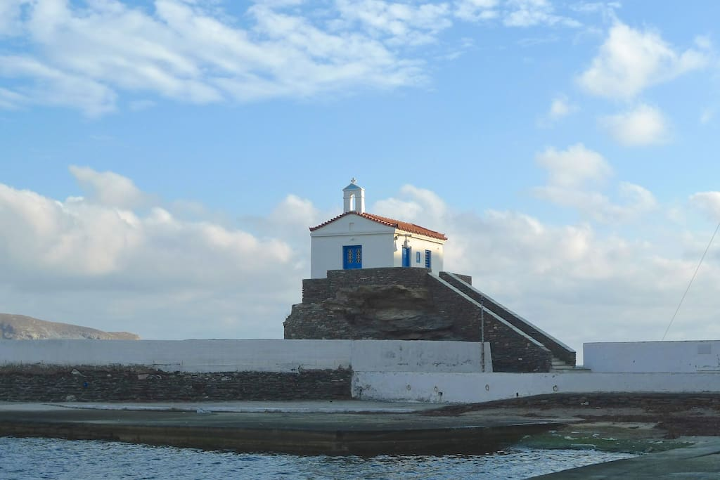 Agia Thalassini church (the Mother of the sea). Landmark of Andros.