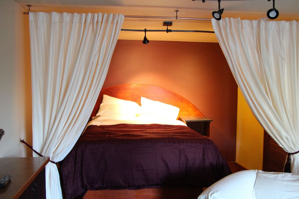 Sleeping area separated by romantic curtains