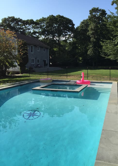 Custom gunite pool, spa and sun deck with marble dust finish