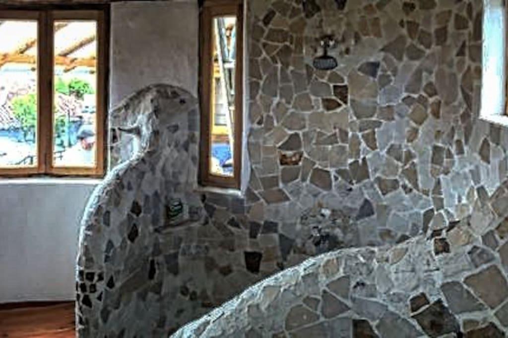 Detail, stone shower