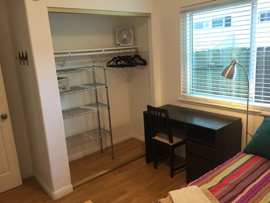 Closet and desk in this little room