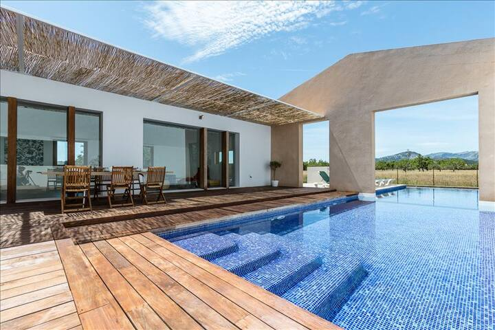 Terrace, villa and pool