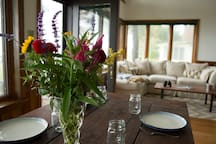 Gather the whole family for a lovely home-cooked meal at the farm table overlooking the bay.