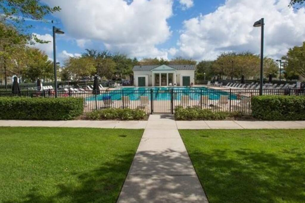 One of our 3 community pools, with parks, BBQ grills and bike riding.