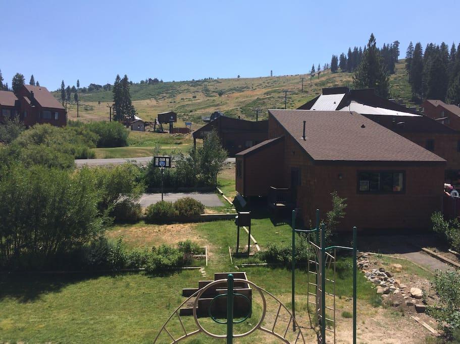 View from balcony toward base of ski lifts