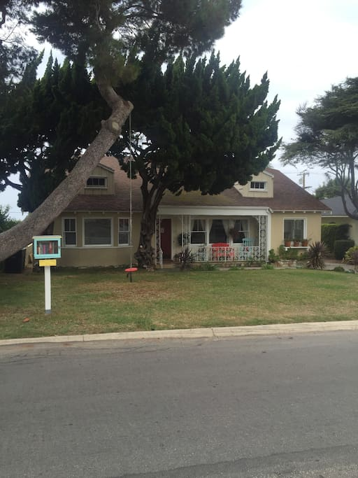Front of House with Tree Swing and Little Library