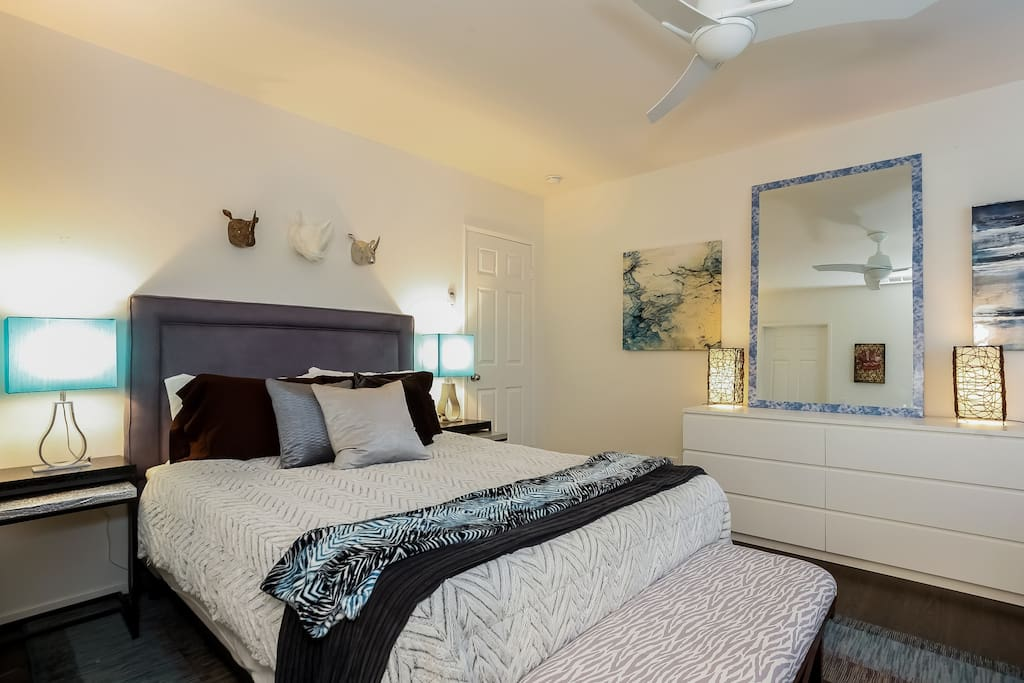bed and nightstands