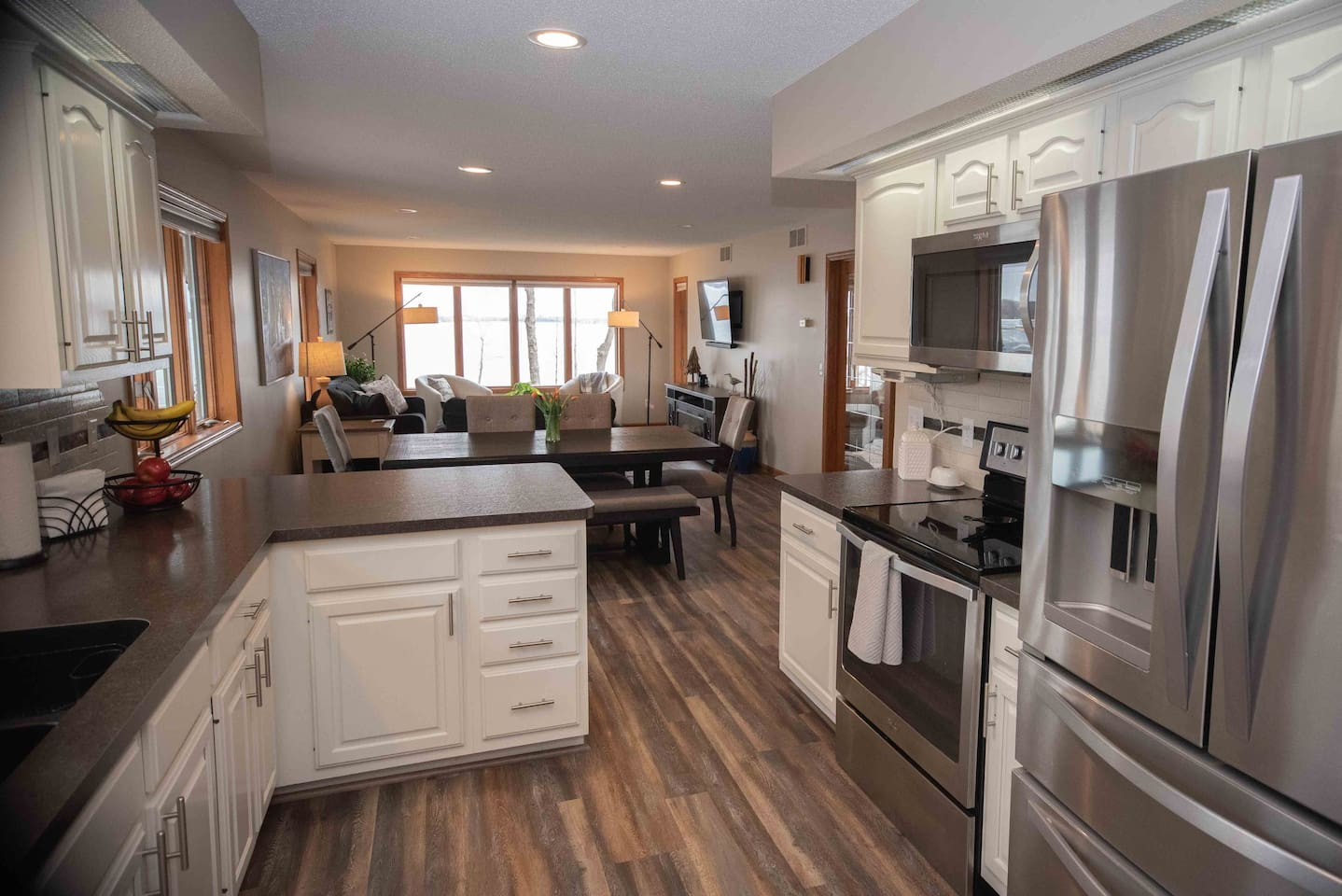 The open concept kitchen dining and living space!