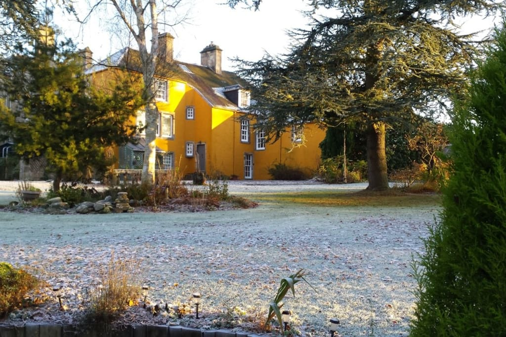 Winter view of the house from the garden