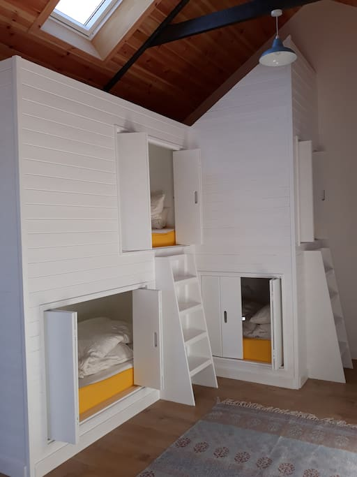 Our bespoke bunk pods are fun to sleep in