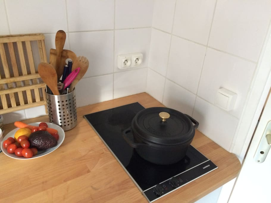 Good kitchen with Staub cast-iron pot. And everything you need to make a lovely diner at home.