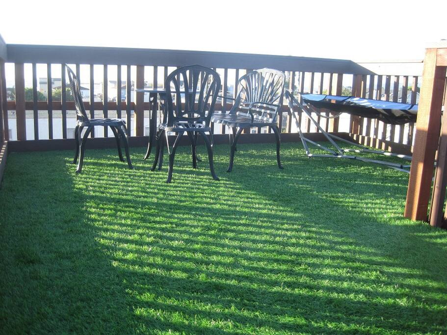 Spacious, grass-covered rooftop deck is a great spot to unwind and hang out!