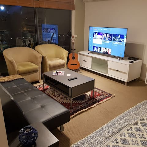 Great living room with brand new home appliances. Watching movies on Smart Tv with supper fast internet.