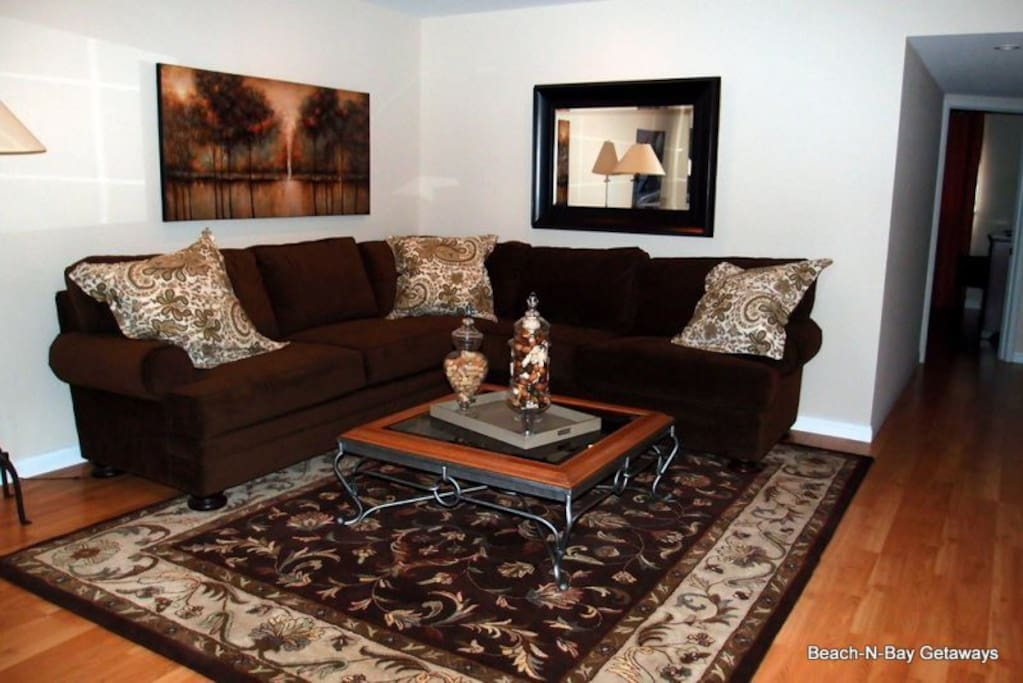 The living room offers a separate space to hang out in if you just want to visit or read a book.