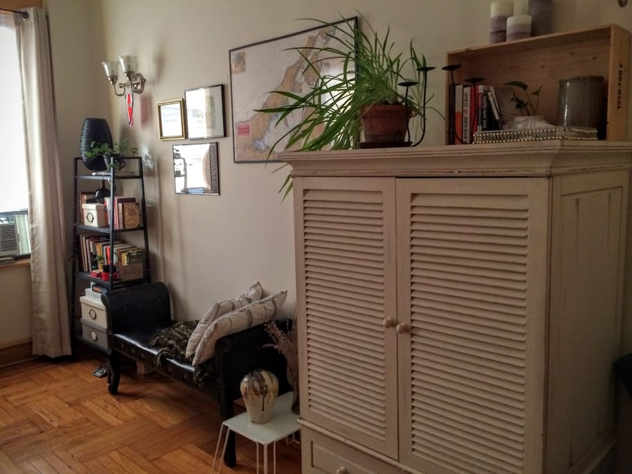 Maps, books, plenty of floor space. I'll clear space in the white armoire for your use.