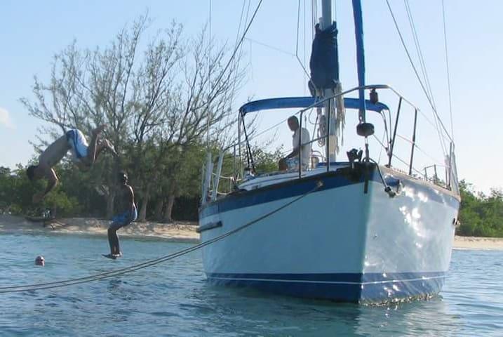 Montego Bay 40ft boat at anchor