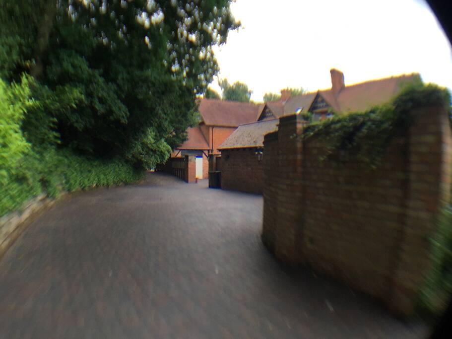 Private driveway entrance.