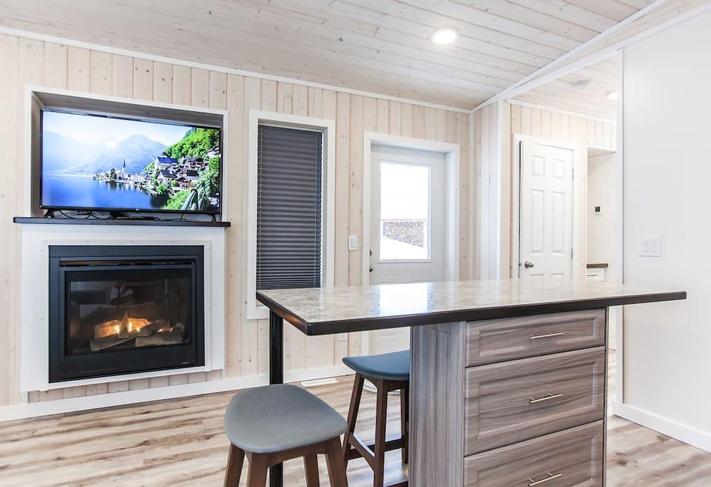 Propane Fireplace and Flat Screen TV
