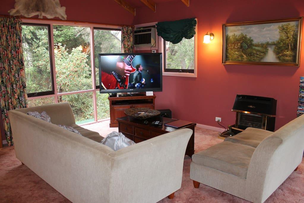 """Living Room 55"""" TV and free movie streaming"""