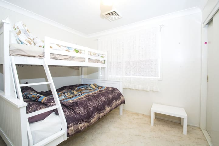 Second Bedroom with Double Bed Base & Single Bed Bunk