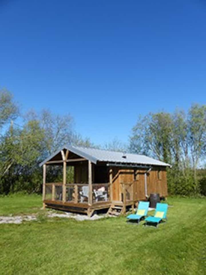 Cabane bois avec hammam et spa