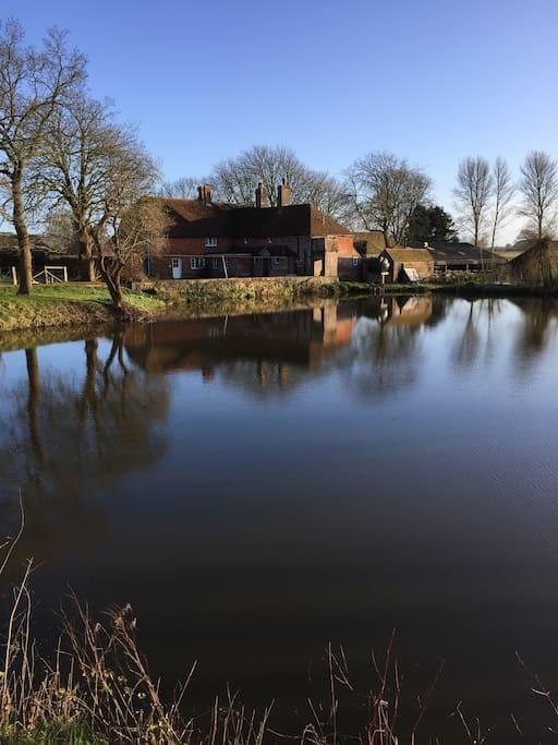 Rear view of Farmhouse & Pond