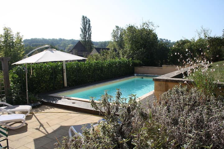 Village house; private heated pool; large garden