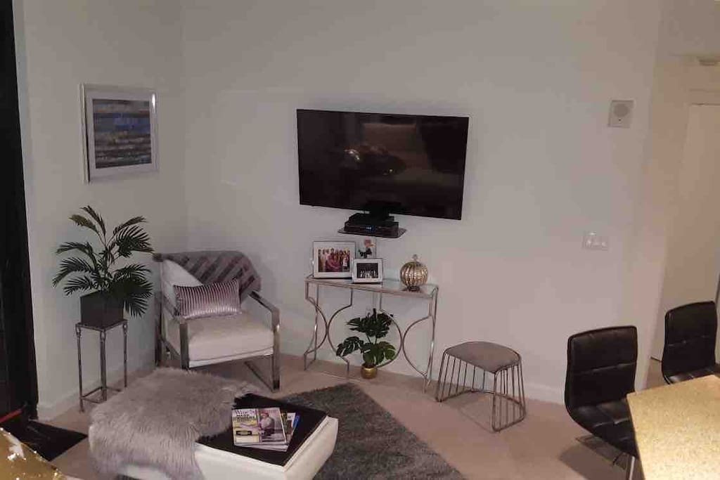 Smart Tv living room with cable tv and Blu-Ray player