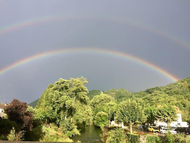 Double rainbows over Moulis village