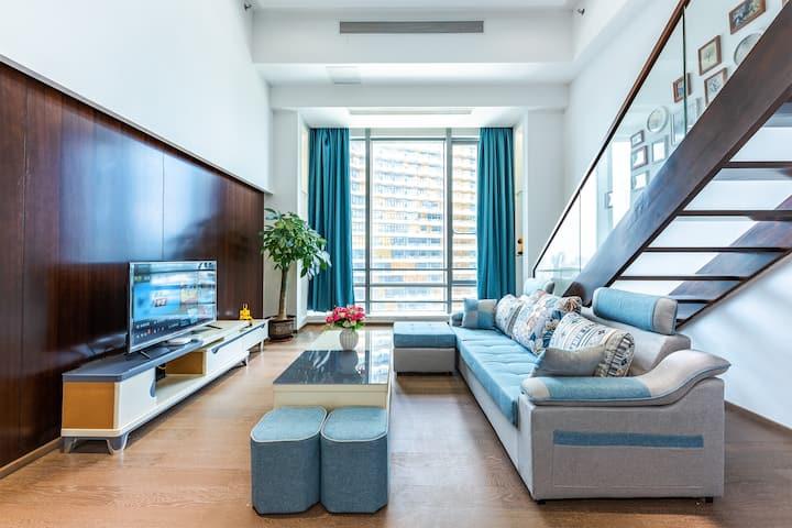 长隆海洋王国横琴口岸澳门景观LOFT复式豪华双床房