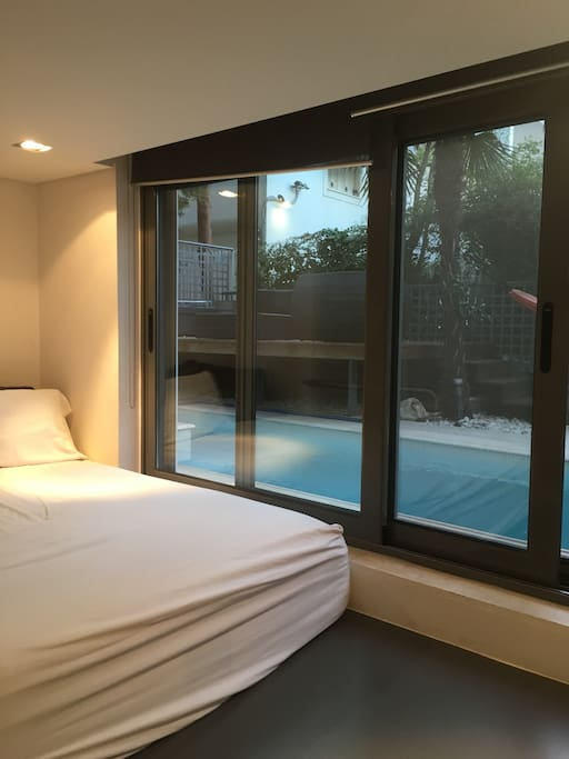 double bedroom ensuite bathroom om the ground floor right by the pool