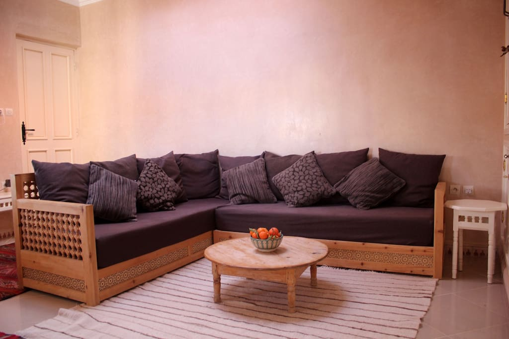 Sofas made from traditional Moroccan carved wood