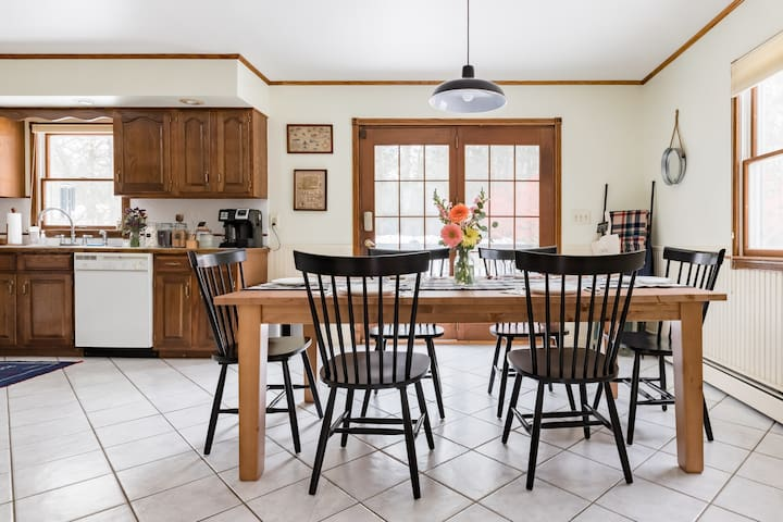 Large country kitchen table that comfortably fits 6