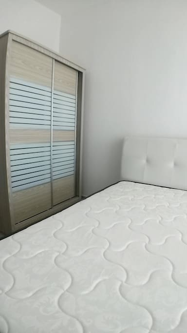 Queen size bed with wardrobe