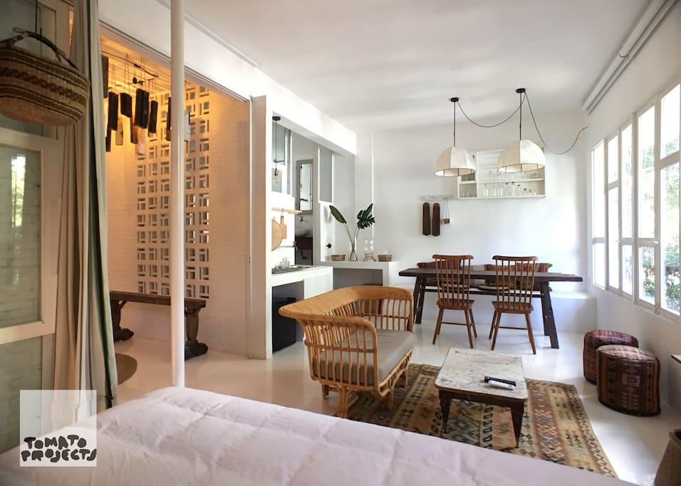 Living & Dining with Bright & Airy windows facing one of the main streets of Saigon