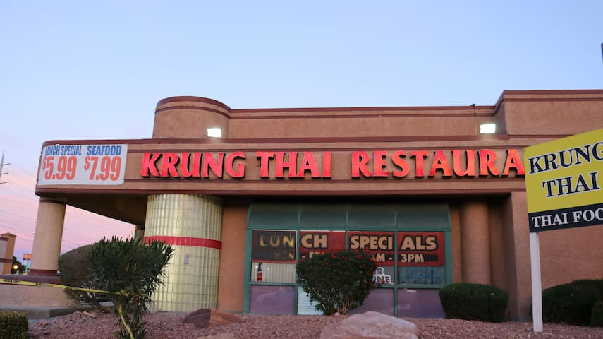 Krung Thai Restaurant at the corner of Decatur and Flamingo. The Restaurant only 2 mns by car, 12 mns by bus, 14 by walking from my place.