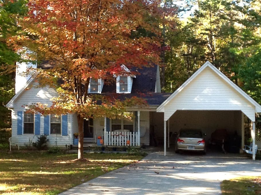 Beauty of fall in NE Georgia. Look for 2 story, white house with blue shutters on left.
