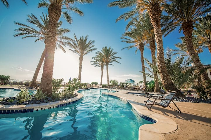 Lavish amenities include 2 outdoor pools, 2 hot tubs, and a lazy river.